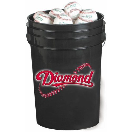 Diamond 6-Gallon Ball Bucket with 30 DOL-A Baseballs, (Black Ball Bucket)