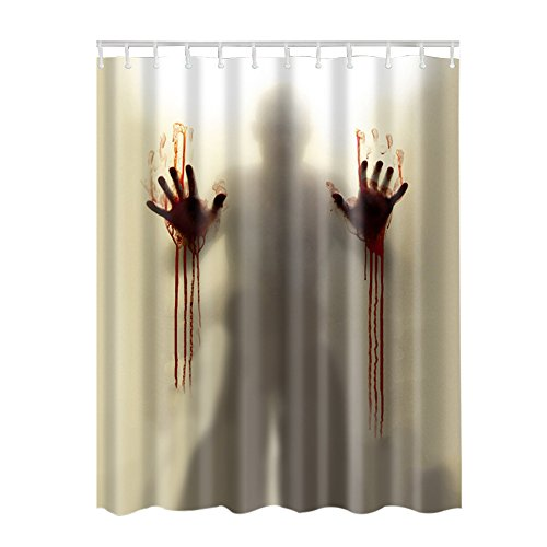 Adarl Blood Man Shower Curtain Waterproof Fabric Bath Curtains,Set of 12 Rings/71x71inch,for Bathroom Decor (Shower Curtain Blood)