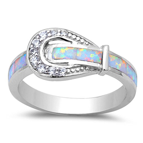 Lab Created Lab Created White Opal & Cubic Zirconia Belt Buckle .925 Sterling Silver Ring Sizes 7