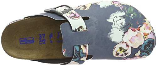 Birkenstock Boston Birko-Flor Softfootbed, Zuecos para Mujer Multicolor - Mehrfarbig (Painted Bloom Navy)
