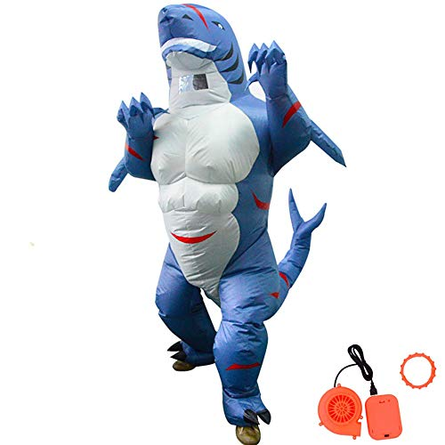 HUAYUARTS Inflatable Costume Shark Game Cloth Adult Funny Blow up Suit Halloween Men's Costume Blue Cosplay, Plus Size