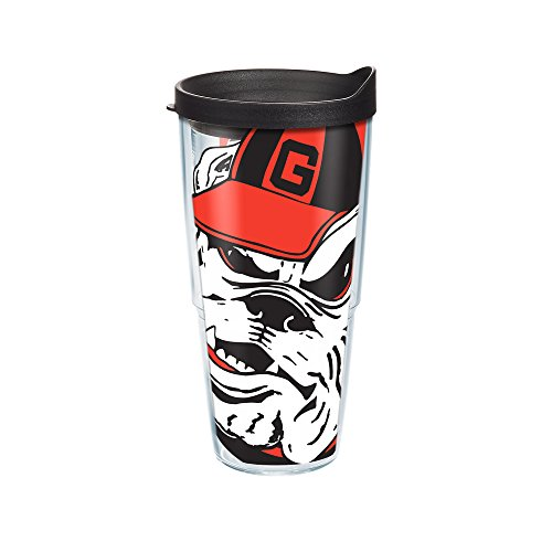 Tervis 1084718 Georgia University Colossal Wrap Individual Tumbler with Black lid, 24 oz, Clear (Bulldogs Cups)