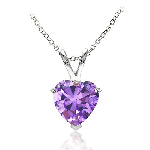 (Sterling Silver Simulated Amethyst 7mm Heart Pendant Necklace)