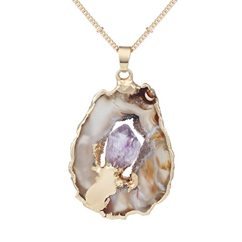 Bonnie Irregular Slice Geode Crystal Pendant Necklace Cut Amethyst Natural Stone Jewelry(Style 2) -