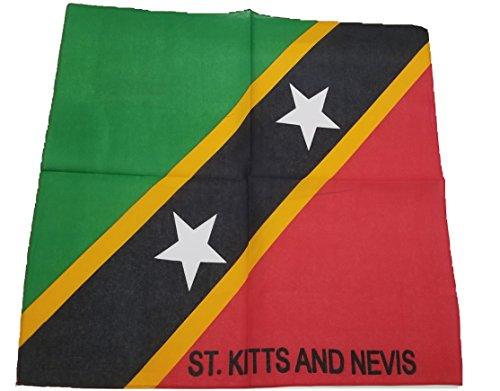 (BUNFIREs ONE St Kitts and Nevis FLAG Kittitian Bandana Bandanna BIKER DURAG HEAD WRAP SCARF LARGE SIZE: 22 X 22)