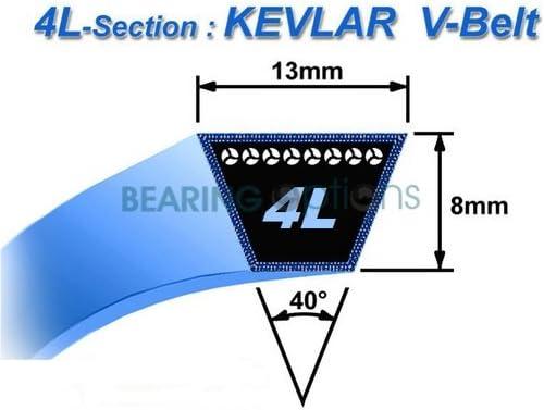 N/° Origine: 22431-760-K20 12.7 mm Longueur ext/érieure: 44-1117,60 mm - 12.7x8 mm 4LK44 : Courroie lisse trap/ézo/ïdale pour Motoculteurs HONDA Mod/èle F320 Section 1//2
