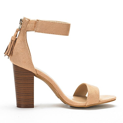 Pumps Sandals New GARDA Nude Ankle Chunky Zipper Strap PAIRS Open High Heel Summer Strappy Toe Women's Casual DREAM 6aqw5ET