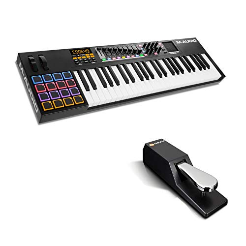 MIDI Controller Bundle   49-Key USB MIDI Keyboard Controller with Beat Pads, Sustain Pedal and Pro Software Suite – M…