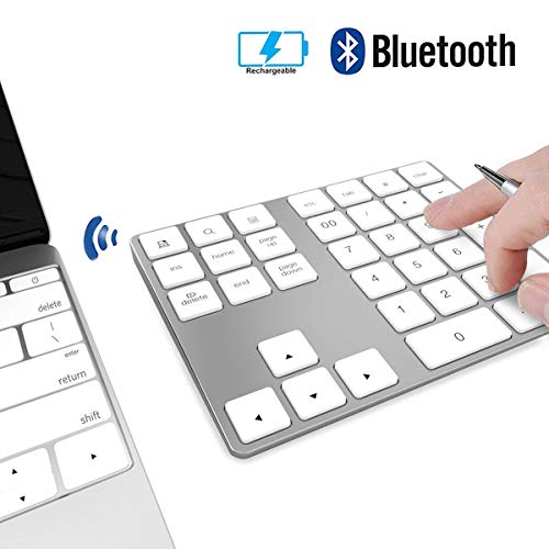 - Wireless Numeric Keypad, JOYEKY Aluminum Bluetooth Number Pad 34-Keys External Number Keyboard Shortcut Keypad Data Entry Compatible iMac MacBook Air, MacBook Pro, MacBook and Mac Mini etc (Silver)