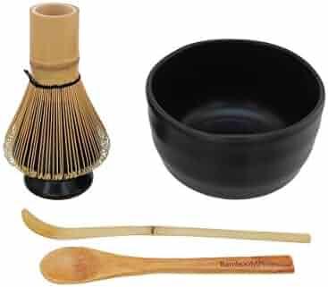 BambooMN Japanese Skinny Matcha Whisk Chasen Skinny Natural Golden Brown Long Handle Traditional Matcha Utensil 1 Piece