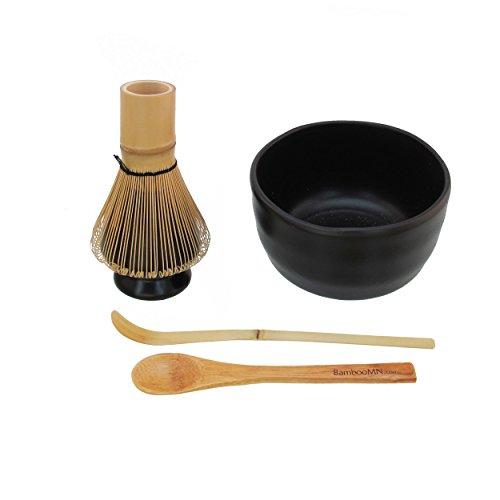 BambooMN Brand - Matcha Bowl Set (Includes Bowl, Rest,Tea Whisk, Chasaku, Tea Spoon) 1 Set Black