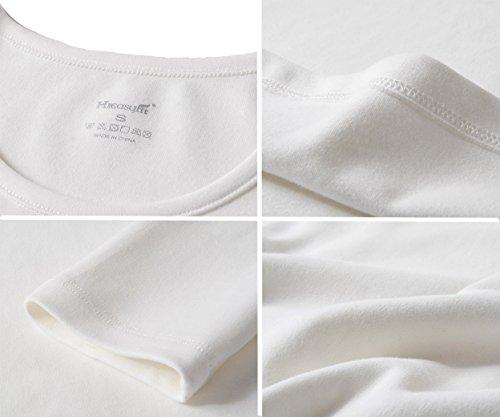 HieasyFit Women's Cotton Thermal Sets 2pcs Underwear Top & Bottom Pajama with Fleece Lined(Ecru XL) by HieasyFit (Image #6)