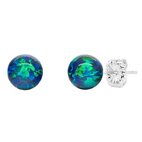 Trustmark 925 Sterling Silver 6mm Blue-Green Peacock Synthetic Opal Ball Stud Post Earrings Opal Ball Stud