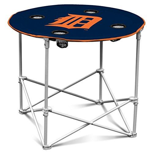 Logo Folding Picnic Table, Detroit Tigers Blue Camp Outside Round Dining Table