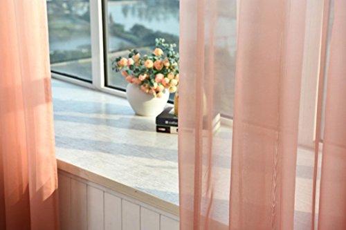Woaills 1 PC Solid Washable Valances Tulle Voile Curtain Door Window Drape Panel Sheer Scarf Divider Deco 270cm x 100cm (Orange) ()