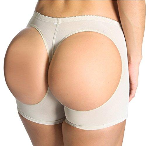 SAYFUT Beige Butt Lifter Panty Underwear Tight Shaper Tummy Control Boy Shorts Beige Large / 26-28 Waist