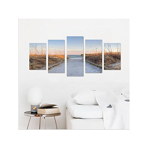 Liguo88 Custom canvas Seaside Decor Collection sunset sea oats on the Atlantic coast Myrtle Beach State Park Myrtle Beach South Carolina Bedroom Living Room Wall Hanging