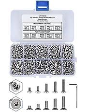 720 Stuks M3 Schroeven Set Knoopkop + Platte Kop Inbus 304 Roestvrij Staal Assortiment Kit Met Opbergdoos Voor Machinebevestiging SPDYCESS