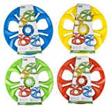 DollarItemDirect Flying DISC Light UP 4AST Colors 9IN/PEGGABLE TIEONCARD, Case Pack of 24
