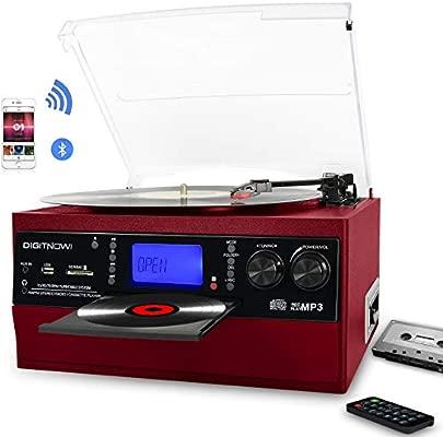 digitnow Bluetooth Viny Tocadiscos, Radio Am/FM y AUX en con ...