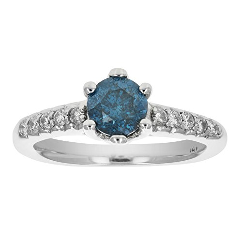 1.15 CT Blue Diamond Engagement Ring 14K White Gold In Size 7 (Available In Sizes 5 – 10)