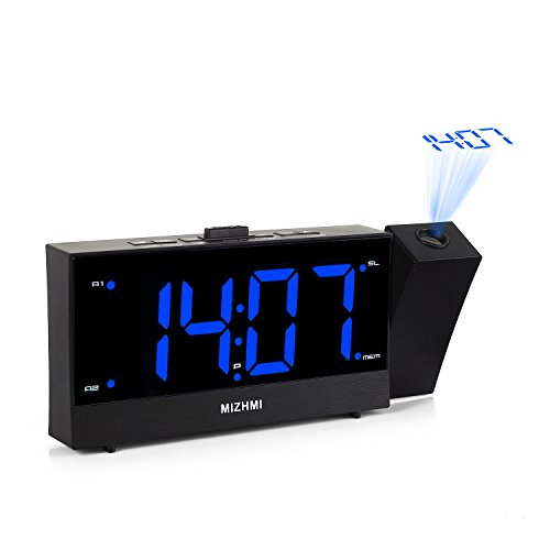 MIZHMI Projection Alarm Clock Dual Alarms with FM Radio USB Charging Dimmer 5.5