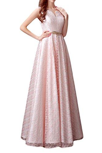 cinturino in con da da abiti sera sposa linea Gowns senza Splendido per sera Sunvary abito Pink maniche qIw4z4