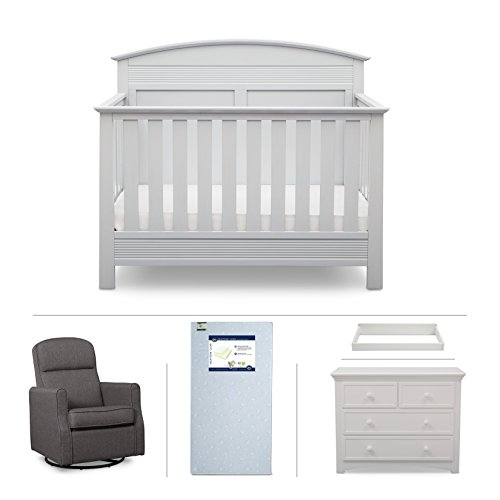 Serta Ashland 5-Piece Nursery Furniture Set (Serta Convertible Crib, 4-Drawer Dresser, Changing Top, Serta Crib Mattress, Glider), Bianca - Rocker Glider Collection
