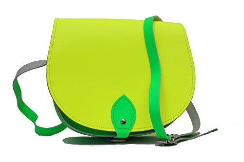 Dos de color / contraste / bolso de la silla de montar de cuero real Crossbody con cierre de hebilla y correa ajustable. Disponible en muchas combinaciones Fluorescente amarillo y verde