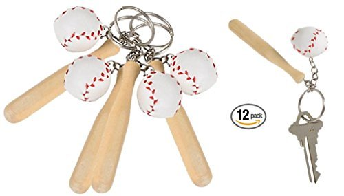 Rhode Island Novelty Baseball & Wooden Bat Keychains, 3-Inch, Pack of 12