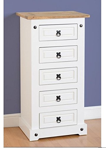 big sale 67bd1 06539 Corona Narrow White 5 Drawer Chest - Space Saving Design ...