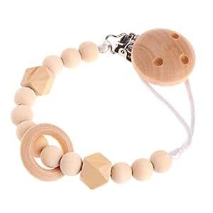 Amazon.com: BKID – Chupete de madera para bebé, cadena de ...