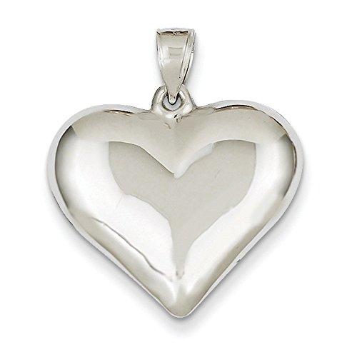 Or blanc poli 14 carats Pendentif cœur-Dimensions :  20 x 21 mm-JewelryWeb