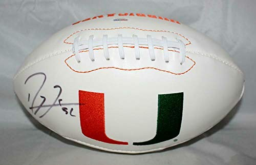 Ray Lewis Autographed Univ of Miami Hurricanes Logo Football- Auth *left - PSA/DNA Certified - Autographed College Footballs]()