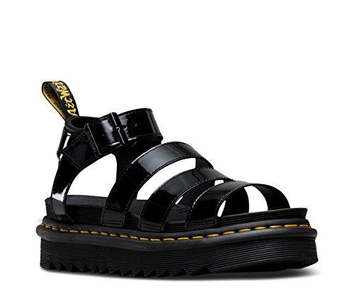 Dr. Martens Women's Blaire Patent Leather Fisherman Sandal, Black, 8 Medium UK (10 US) Dr Marten Fisherman Sandals