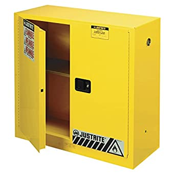 Justrite 893000 Sure-Grip EX Flammable Safety Cabinet, 2 Door, Manual Close, Dimensions (H x W x D): 44 x 43 x 18 inch (1118 x 1092 x 457 mm); 30 gal. (114L)