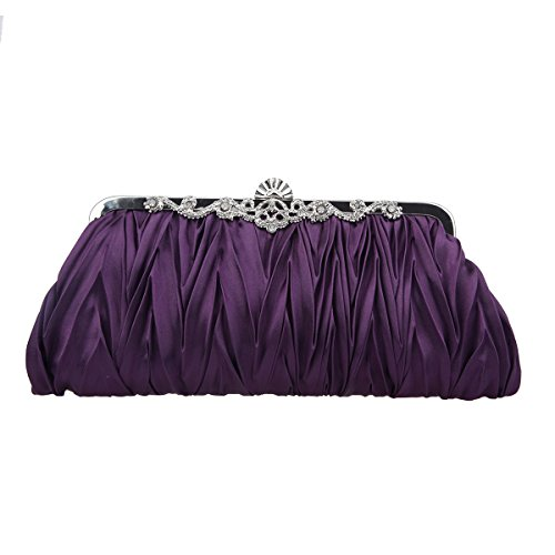 Clutches Fawziya Pleated Satin Evening For Purses Purple Clutch Wedding And For Women Party 0Bq0RO