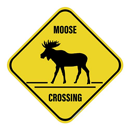 - Moose Crossing Sign, Includes Holes and 2 Free Mounting Bolts, 3M Quality Reflective, Aluminum, 17