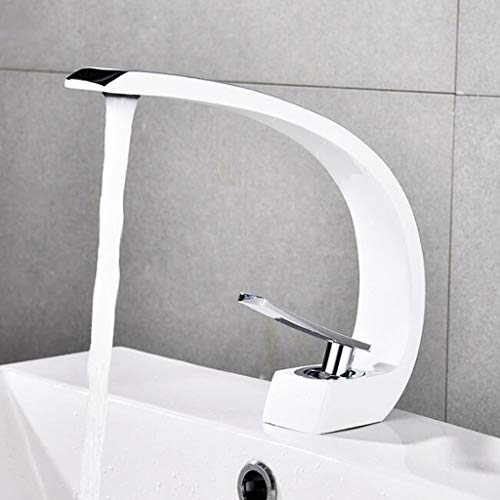 (Kitchen Faucets Touch On Kitchen Sink Faucets Basin Tap Chrome Brass Waterfall Basin Sink Mixer Tap Bathroom Lever Faucet Basin Pillar Taps Kitchen tap (Color : White, Size : 2.71823.5CM))