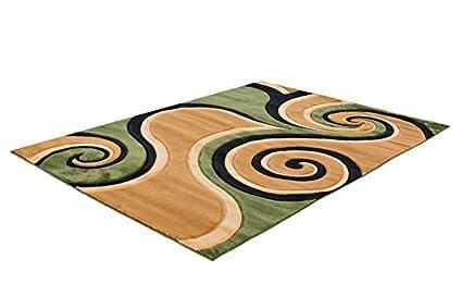 Amazoncom Indoor Area Rug Swirl Pattern Beigebrowngreenblack
