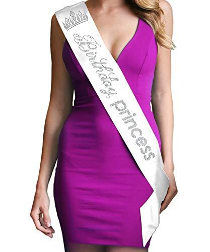Birthday Princess Luxury Rhinestone Sash White with Tiara - Birthday Party Supplies & Decorations Sash(Bdy.PrncT RS) WHT
