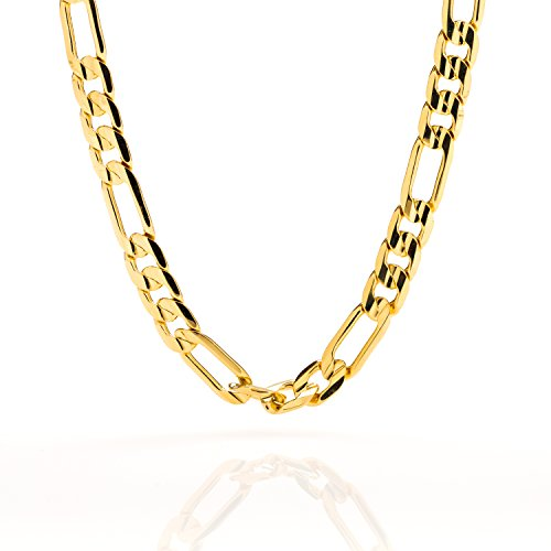 Lifetime Jewelry 7mm Figaro Chain Necklace 24k Gold Plated For Men Women & Teen With Free Lifetime Replacement Guarantee
