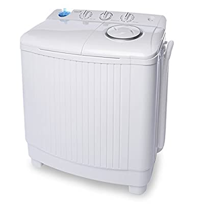 Ivation Small Compact Portable Washing Machine - Twin Tub Washer & Spin with 15 Lb. Wash Capacity & 11 Lb. Spin Capacity - Includes Drainage Pump & Tube - Ideal for Dorm Rooms, RV & More
