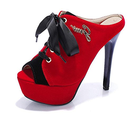 Toes Heel Sandals Court Peep GLTER Slippers Women Shoes Red Fight High Color Waterproof Pumps Fine Suede wtfx6X6qn