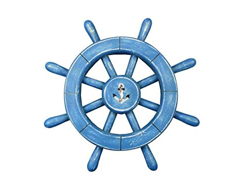 "Hampton Nautical  Rustic All with Anchor Decorative Ship Wheel Decoration, 12"", Light Blue"
