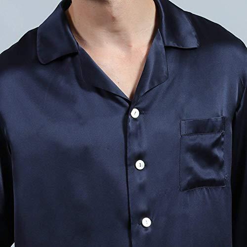 Manga Tamaños Hombre Larga Dos Piezas Conjunto Cómodo Para Loungewear De Cómodos Set Momme Ropa Marineblau Seda Camisón Pijama Homewear Verano 2 Primavera xztzqnY0Hw