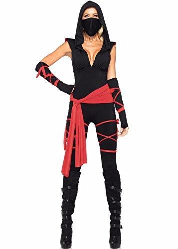 Women's Ninja Catsuit Halloween Party Cosplay Costume Masked Warrior's Sexy Jumpsuit