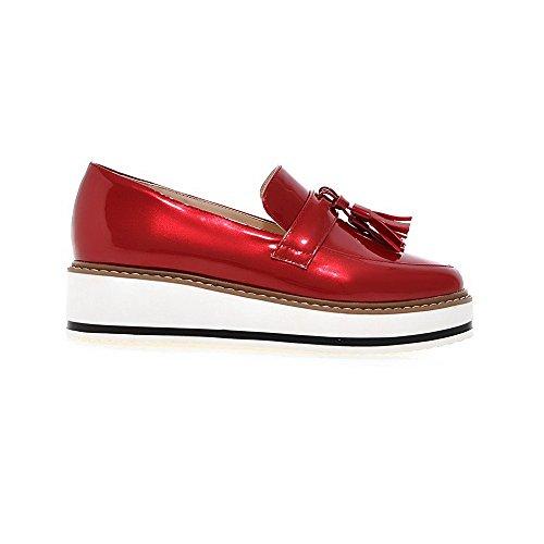 Allhqfashion Bout Rond Fermé Toe Kitten-heels En Cuir Verni Solides Pompes-chaussures, Rouge, 39