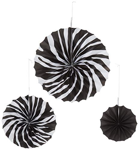 Zebra Stripes Printed Paper Fans | Party Decor