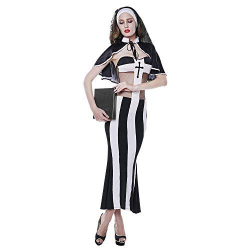 Sweetichic Women's Nun Costume Halloween Cospaly Stripe Free size